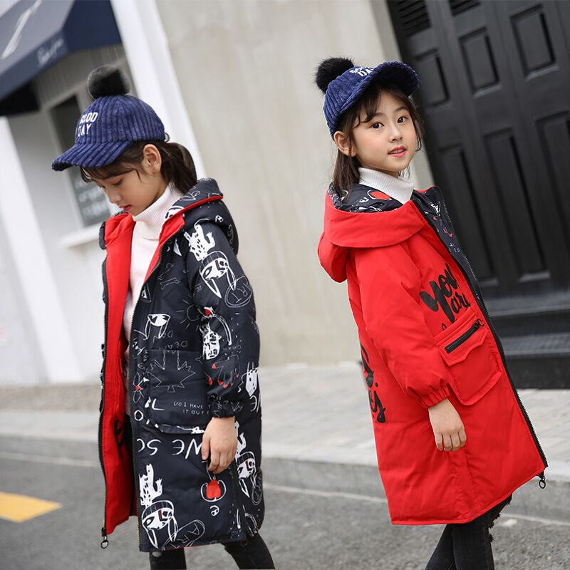 Child Girl Jackets for Autumn Winter Coat Clothing Both sides to wear Kid Hooded Thin Cotton Padded Jacket Parka Long OvercoatChild Girl Jackets for Autumn Winter Coat Clothing Both sides to wear Kid Hooded Thin Cotton Padded Jacket Parka Long Overcoat
