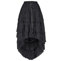 retro skirts Womens Ladies Amelia Gothic maxi skirt Steampunk Drawstring Waist Ruffled High Low Asymmetrical Lace Cake Skirt