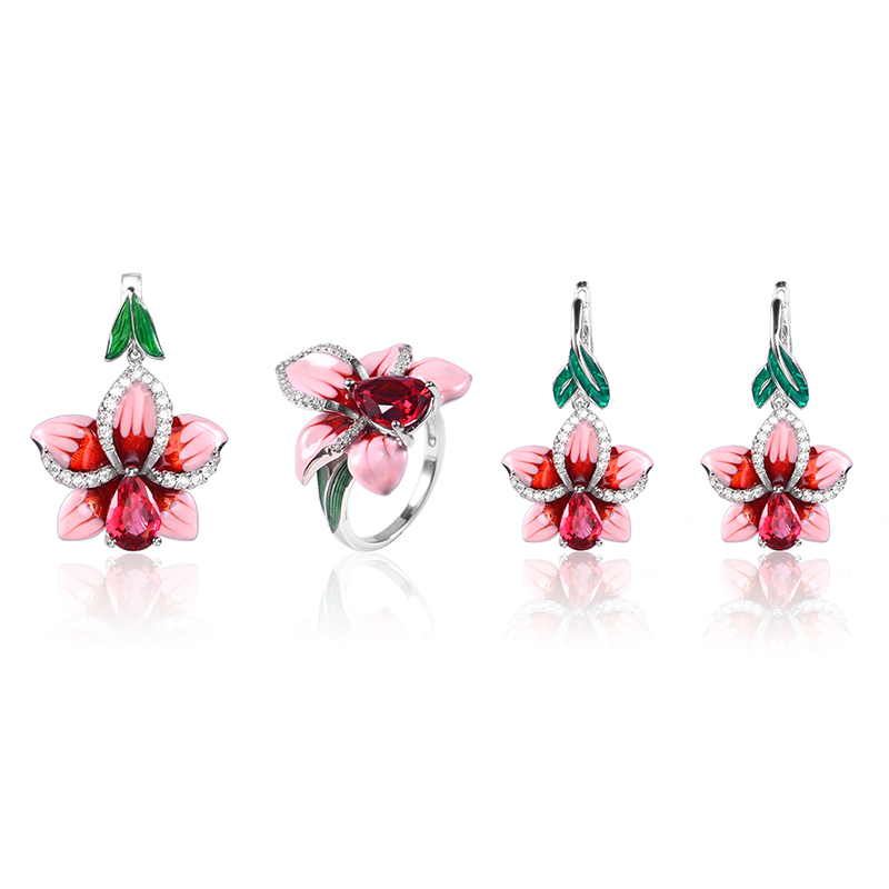 2018 New Pink Enamel silver orchid Jewelry Set (stub Earrings Pendant ring) Authentic 925 Sterling Silver DIY Making