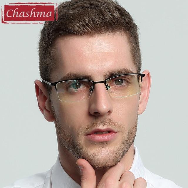 88e2f0cd10d43 Chashma Liga Marca Óptica Óculos de Armação Homens Metade Aro Limpar Lens  Armações de Óculos de