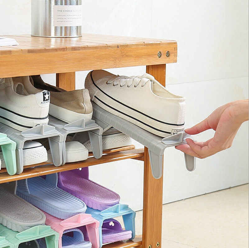 Home Hanging Shoes Rack Storage Organizer Useful Plastic Removable Adjustable Shoe Holder Stand Space-saving
