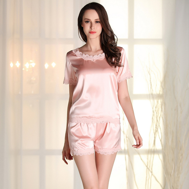 SSH099 2017 New Satin Silk Shorts Ladies Lace Summer Nightwear Quality Round Neck Sleepwear Black White Red Women   Pajama     Sets