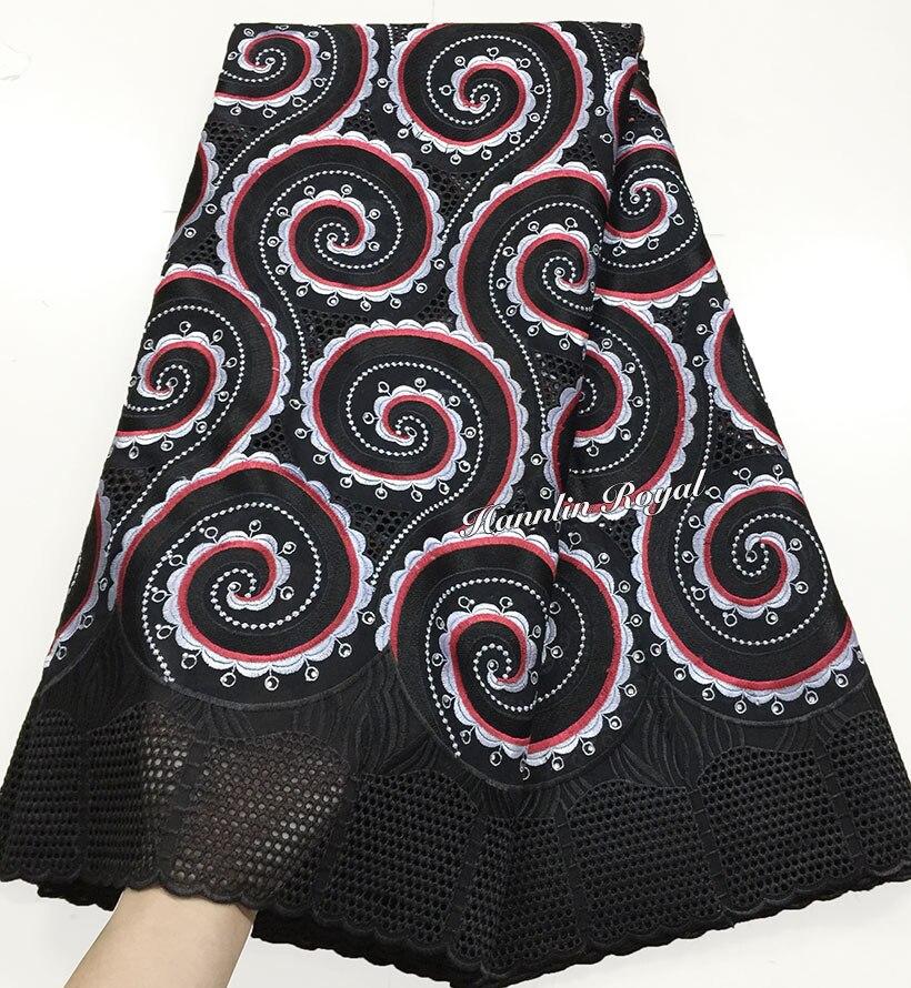 Noir rouge 5 yards africain suisse dentelle couture jardin tissu avec gros cordon dentelle bordures de haute qualité 4098-in Dentelle from Maison & Animalerie    1