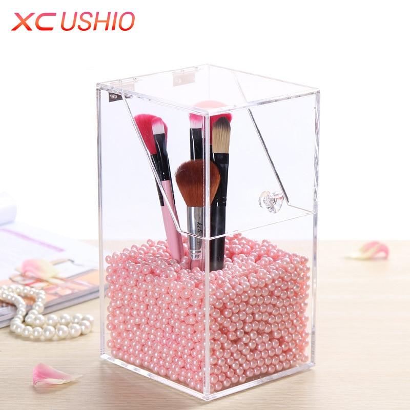 Transparent Acrylic Makeup Brushes Storage Box Cosmetic Organizer Desktop Makeup Tools Holder Lipstick Sundries Container Case