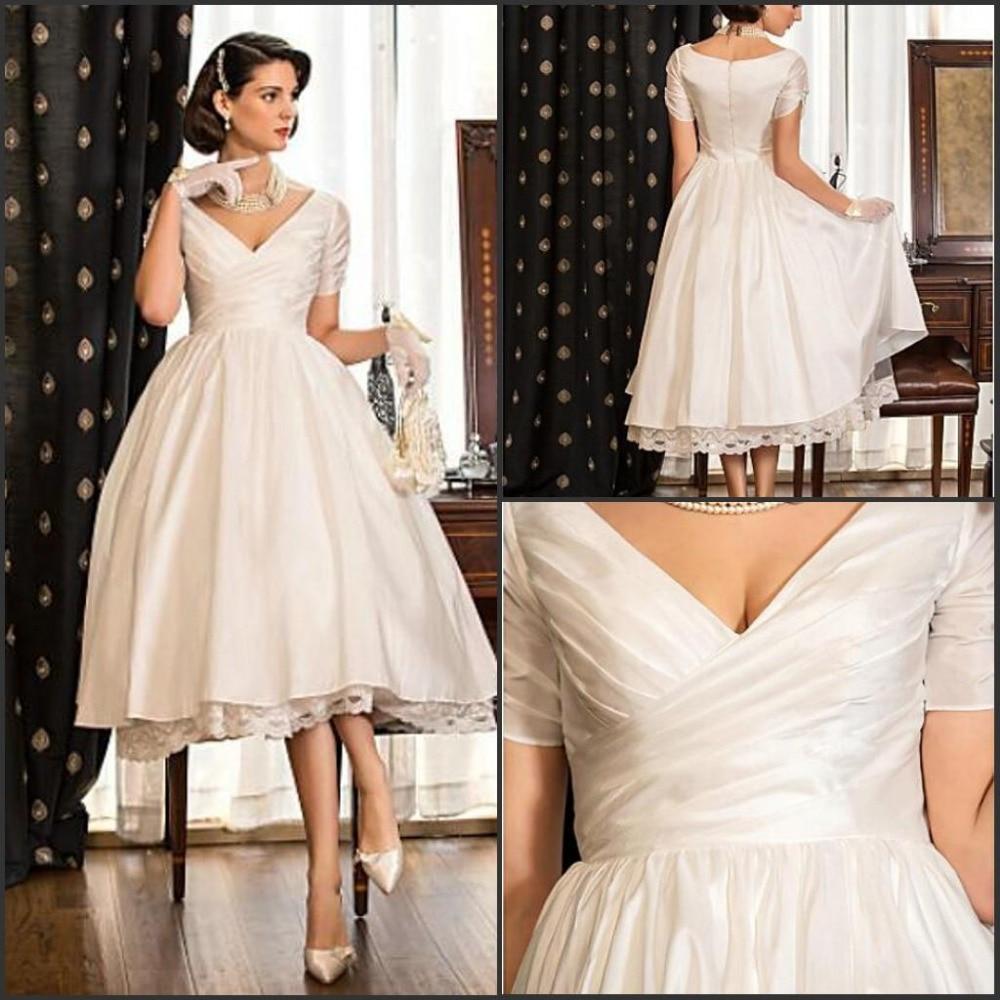 Simple Elegant Long Sleeve V Neck A Line Lace Top Satin: Elegant V Neck A Line Short Sleeves Short Wedding Dresses