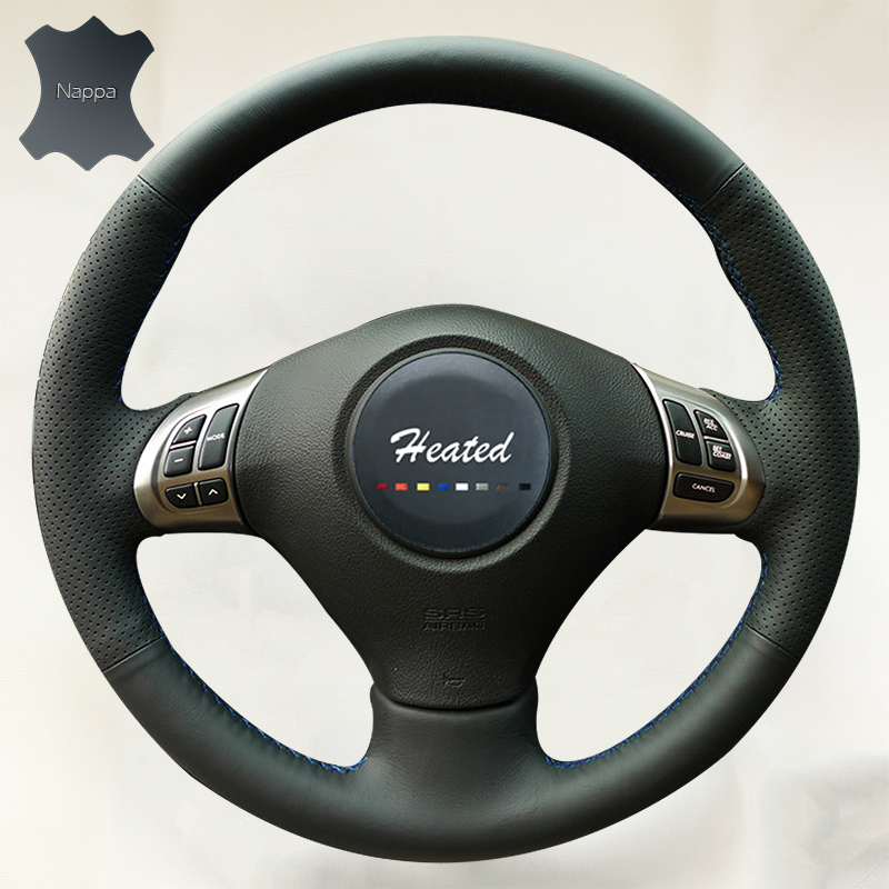 Nappa Leather braid on the Steering Wheel Cover for Subaru Forester 2008-2012 Impreza 2008-2011 Legacy 2008-2010 Exiga 2 2008