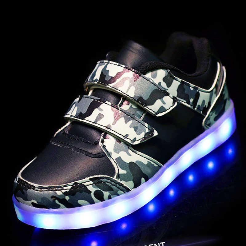 4de28775 ... 25-37 размер/USB корзина светодио дный детская обувь с подсветкой Детские  светящиеся кроссовки ...