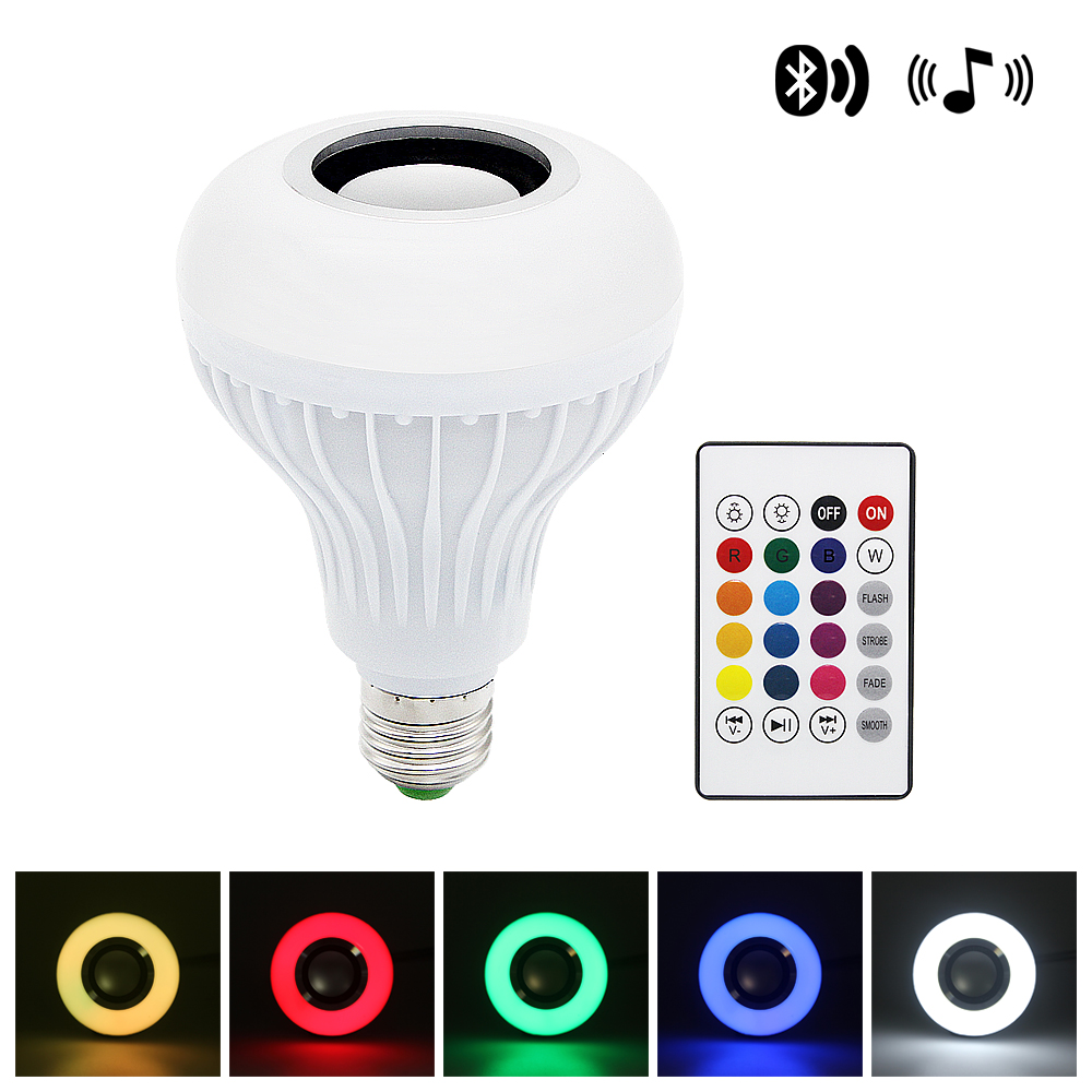 Smart E27 LED RGB Bulb Wireless Bluetooth Speaker Music Playing Audio Dimmable Light Lamp With 24 Keys Remote Control