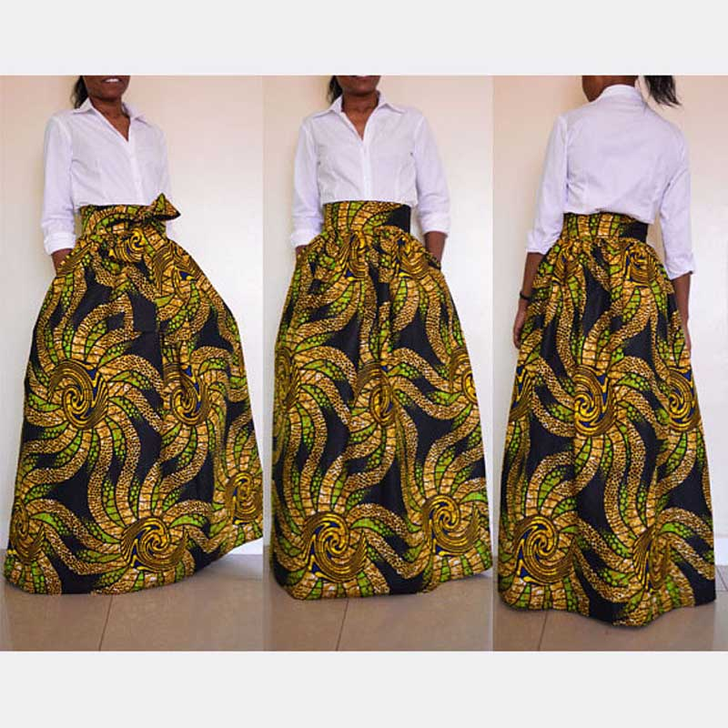 2018 hot sale explosions African ethnic wind skirt African women's skirts Fashion digital printing large size skirt Popular styl