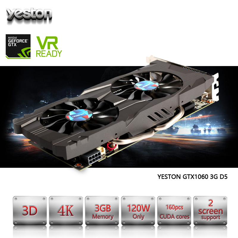 Yeston GeForce GTX 1060 GPU 3GB GDDR5 192 bit Gaming Desktop computer PC Video Graphics Cards support PCI-E X16 3.0 видеокарта msi geforce gtx 1060 1594mhz pci e 3 0 6144mb 8100mhz 192 bit dvi hdmi hdcp gtx 1060 gaming x 6g