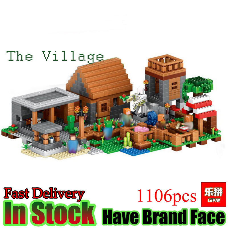 цены Lepin Minecraft 1106pcs The Village My World Model kits action anime figures Building Blocks Bricks fun Toys For Children gifts