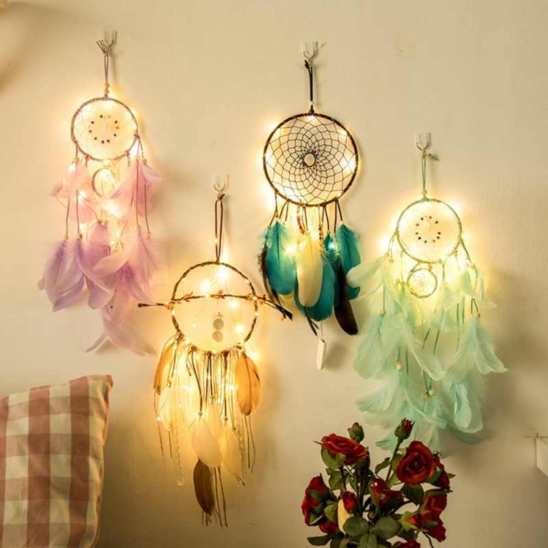 DIY light string dream catcher wind chime ornaments INS style Natural Feathers Wall Hanging Decor  Innovative Gifts Wind Chimes
