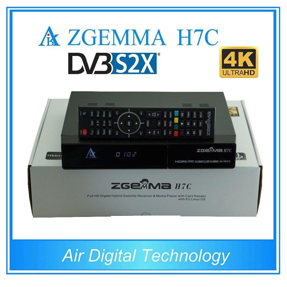 10 pcs/lot zgemma h7c 4 k décodeur tv ultra hd dvb s2x/s2 + twin dvb t2 & dvb c support multi-flux