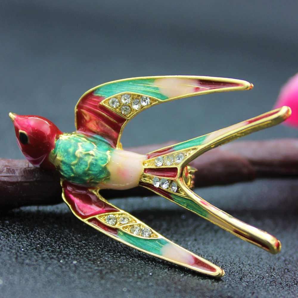 Swallow Bros Enamel Pin untuk Wanita Burung Warna-warni Lucu Hewan Bros Setelan Enamel Bros Syal Klip Girls Buckle Karl Pin