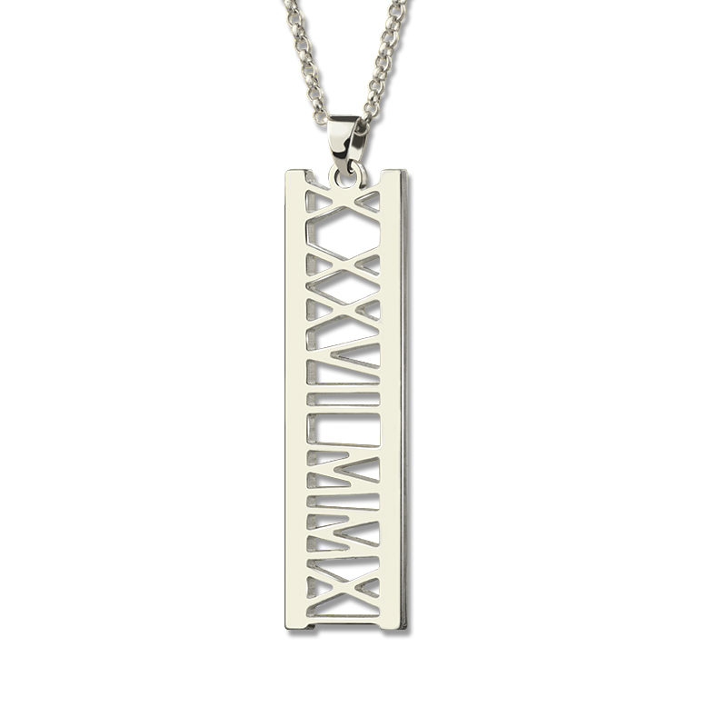Wholesale Vertical Roman Numeral Necklace Sterling Silver