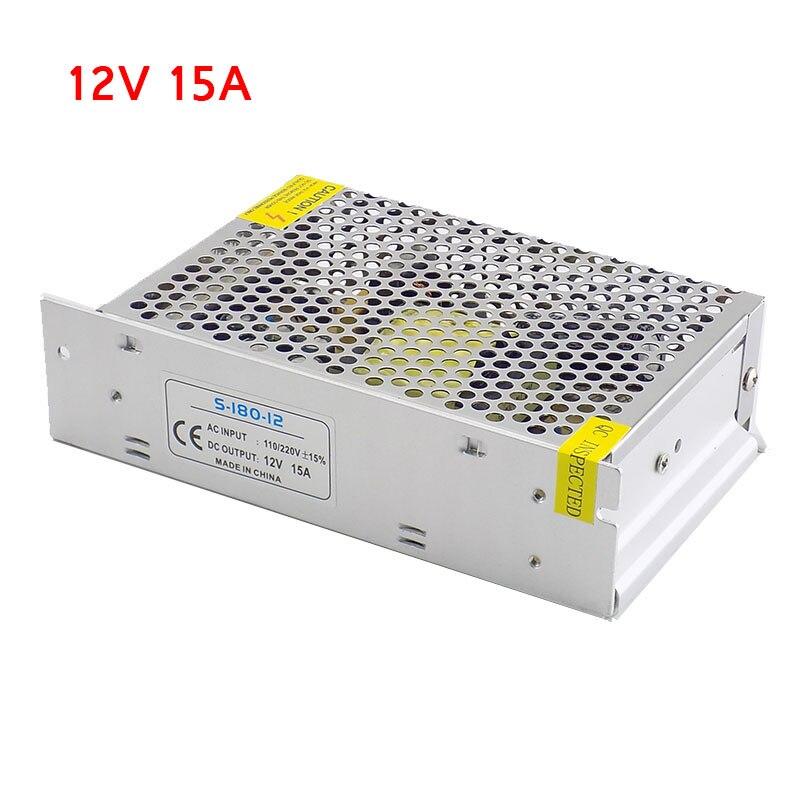 Трансформаторы для освещения, 12 в пост. Тока, 15 А, 180 Вт, источник питания, 110 в перем. Тока, 220 В для светодиодной ленты, переключатель светильни...