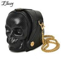 New 2018 Punk Rock Skull Bag Men Women Pirate PU Leather Shoulder Messenger Bags Nightmare Before Christmas Chain Handbags
