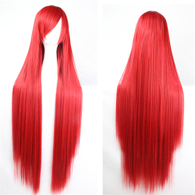100 Cm Harajuku Heat Resistant Women's Anime Red Cosplay Wigs Long Straight Synthetic Hair Costume Peruca Perruque W004