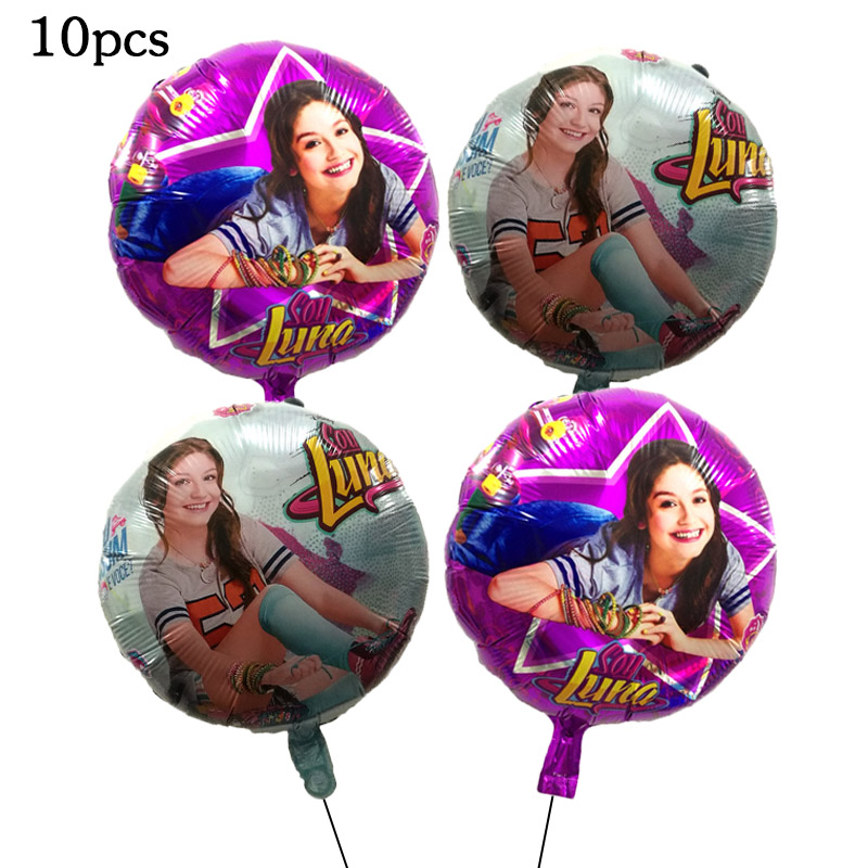 10pcs 18inch Soy Luna Girl Foil Balloons Baby Girl Birthday Party Princess Luna Toy Air Helium Globos Childrens Luna Toys Decor
