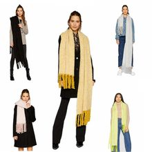 MIARA.L 2018 solid color scarf female student clip flower two-color large tassel imitation cashmere shawl bib scarf for ladies chic bright color stripe pattern voile bib scarf for women