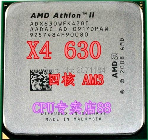Free shipping for AMD Athlon II X4 630 quad-core am3 2.8G for amd 630 desktop computer CPU