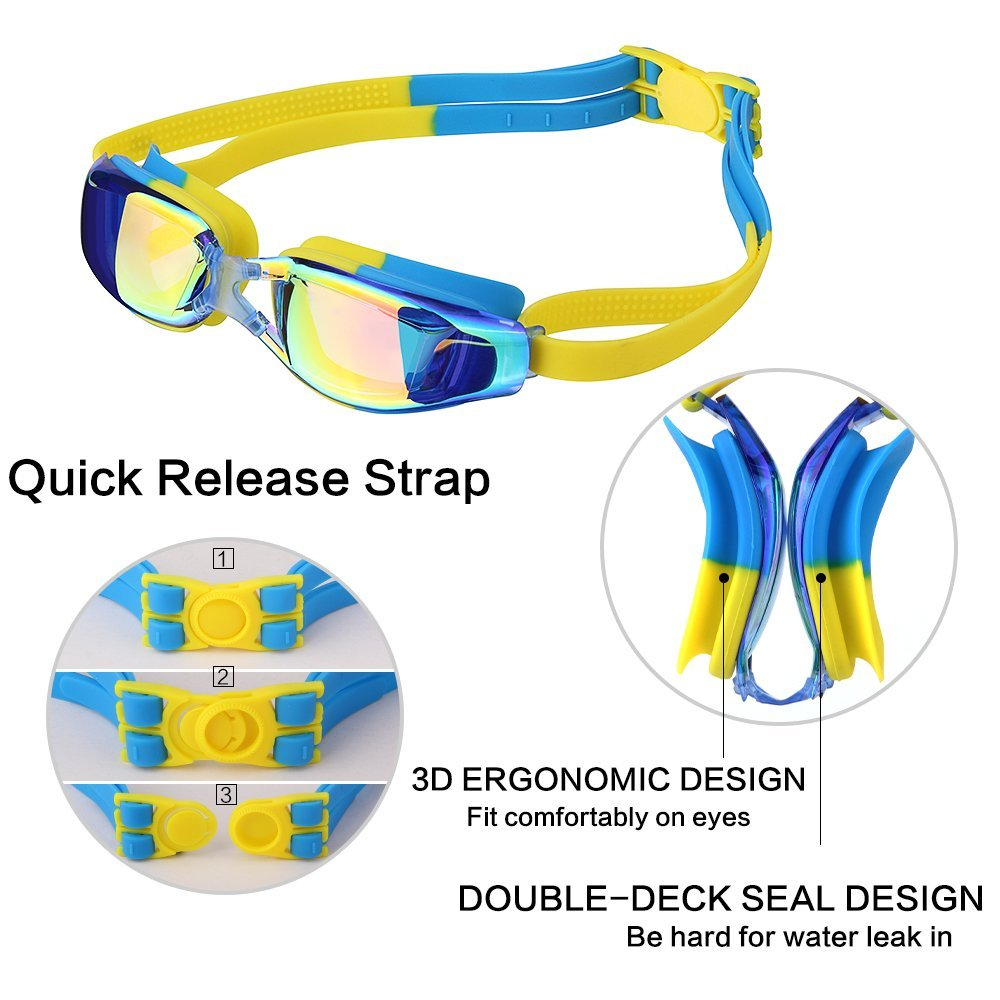 Kids Swimming Anti-Fog UV Protection Prescription Goggles Waterproof Glasses Goggle 6