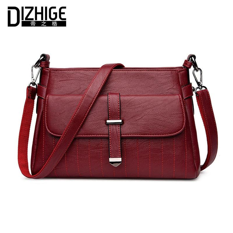 DIZHIGE Brand Fashion Belt Shoulder Bags Solid Crossbody Bags Women High Quality PU Leather Handbags Ladies