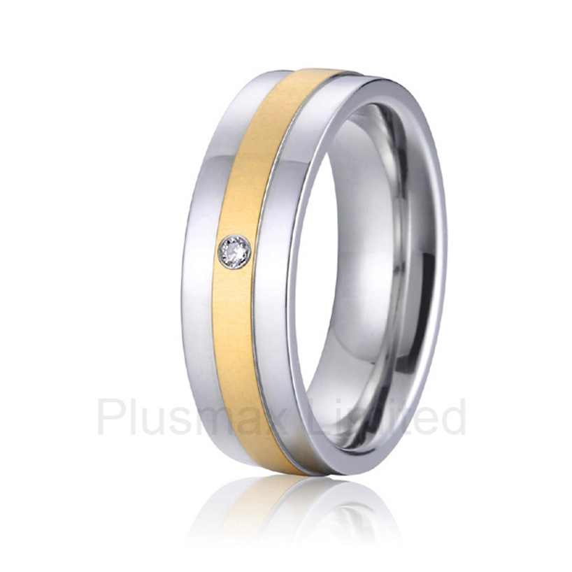 2016 anel masculino ouro classic gift pure titanium wedding band rings gold color inlay for girlfriend anel de casamento cheap pure titanium satin surface gold color colorful stone cheap pure titanium promise wedding band rings