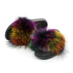Image 5 - Pantoufles en fourrure de renard pour femmes, tongs, fourrure plate, tongs, chaussures de luxe de marque, 2019