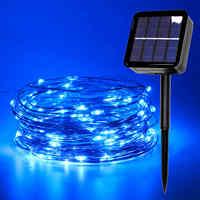 Lámpara Solar al aire libre luz USB guirnalda de luz LED alambre de cobre de hadas impermeable árbol de Navidad decoración para fiesta de boda 5m 10m 20m