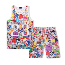 Tracksuit Set Man Summer 3D Print Cartoon Beach Casual 2 pieces Sets Sleeveless Tank Top+Shorts Mens Fitness Clothing Vest