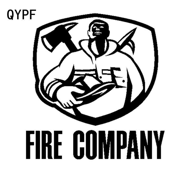 QYPF 14.5cm*15.3cm Fireman Kneeling For FIRE COMPANY Become Sense Of Honor Vinyl Bright Car Sticker Delicate Decal C18-0912