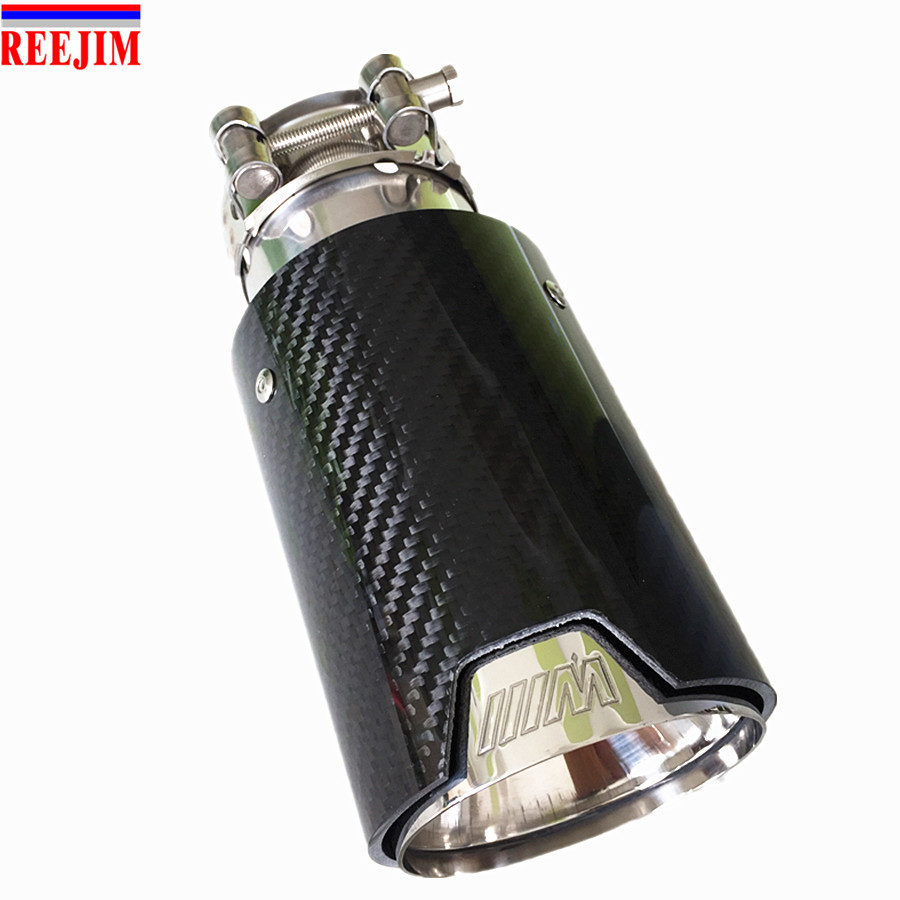 Car Styling M Label Car Akrapovic Carbon Fiber Muffler Tips Pipes with inside Mesh For BMW Carbon Exhaust Tip muffler tip car styling one pair id 60mm od 101mm akrapovic carbon fiber exhaust tip muffler end pipes for bmw vw golf 7 mazda accessories