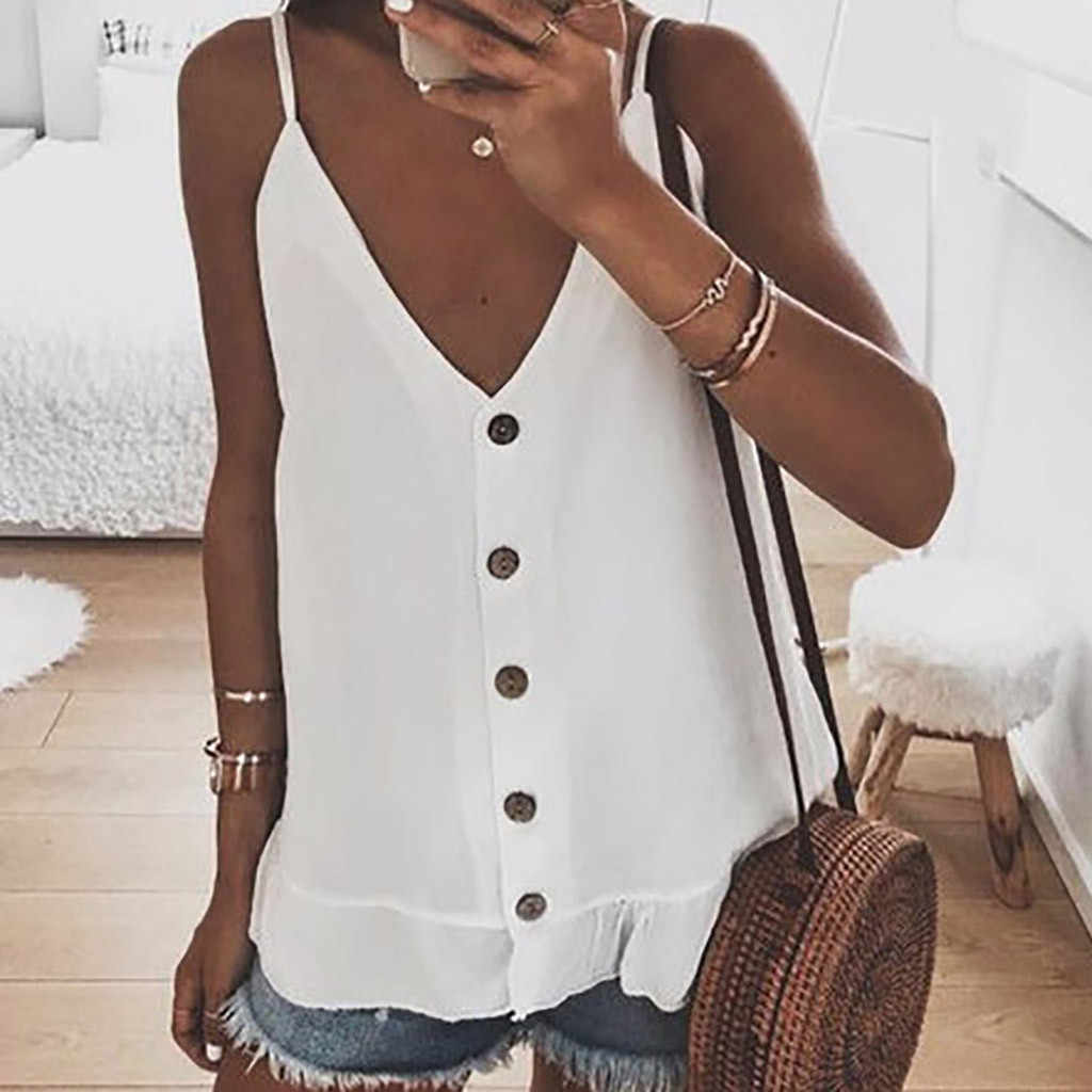 Womail Button Design High Quality Solid Color 2019 Sleeveless V-Neck Polyester Material Summer Tank Tops Women 19APR02
