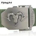 Caliente 140 160 CM Cinturón de Lona Militar de la Mujer Para Hombre Antílope cabeza Hebilla Ceinture Cinturones de Lujo Deportes Al Aire Libre Ocasional de los Pantalones Vaqueros Cintos