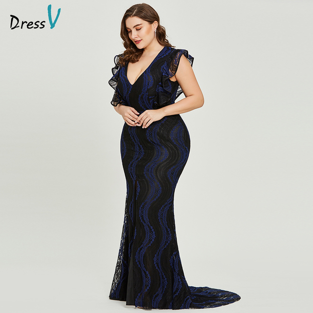 a286844d2a146 US $55.25 42% OFF|Dressv dark royal blue plus size evening dress elegant  trumpet cap sleeves wedding party formal dress lace evening dresses-in ...