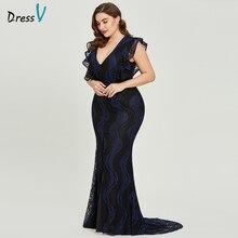 Dressv כהה רויאל כחול בתוספת גודל שמלת ערב אלגנטי חצוצרת שווי שרוולי חתונה מסיבת לבוש הרשמי תחרה ערב שמלות