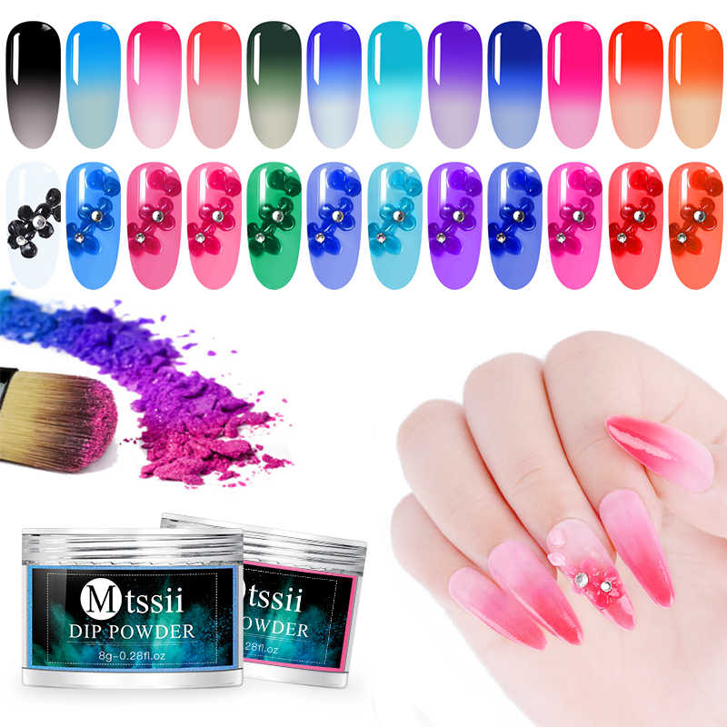 Mtssii 12 Colors Thermal Dipping Nail Glitter Powder Color Changing Nail Extension Nail Art Gel Polish Pigments Manicure Tools