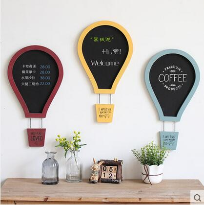 Us 29 09 32 Off American Retro Hot Air Balloon Wall Decoration Wallboard Blackboard Message Board Wooden Stickers Cafe Home Hanging In