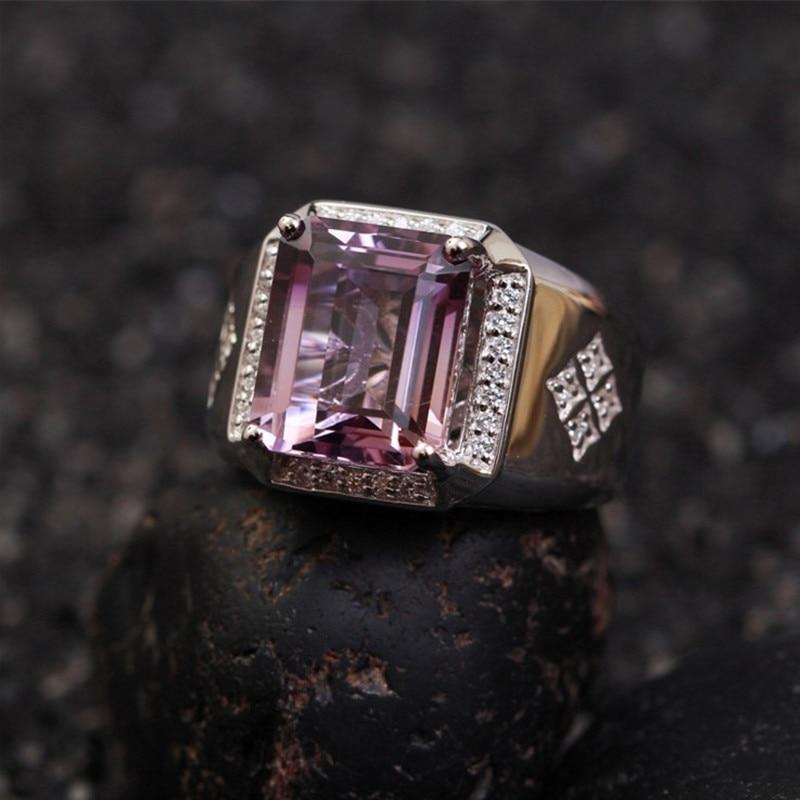 Натуральный Драгоценное кольцо для мужчин серебро 925 инкрустация 6.55ct фиолетовый amethst Кристалл Регулируемый Обручальное кольцо годовщины р...