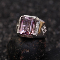 Anillo de piedras preciosas naturales para los hombres s925silver 6.55ct embutido púrpura amethst crystal ajustable anillo de compromiso aniversario joyería mano