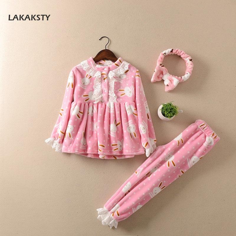 LAKAKS Children Girls Pajamas 2017 Winter Kids Homewear Clothes Soft Warm Flannel Sleepwear Clothing Set For Baby Christmas Gift