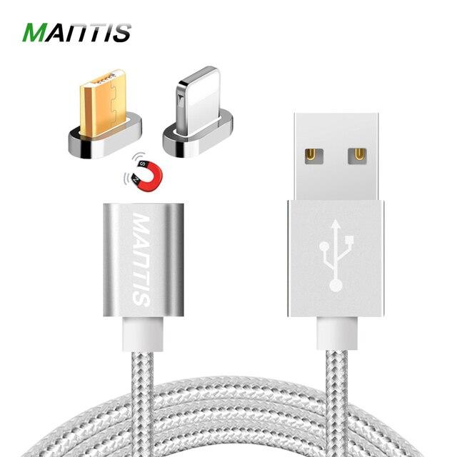 13e7239ccc9 MANTIS 2 en 1 Cable magnético para iPhone USB a Micro USB 1 M Nylon cargador