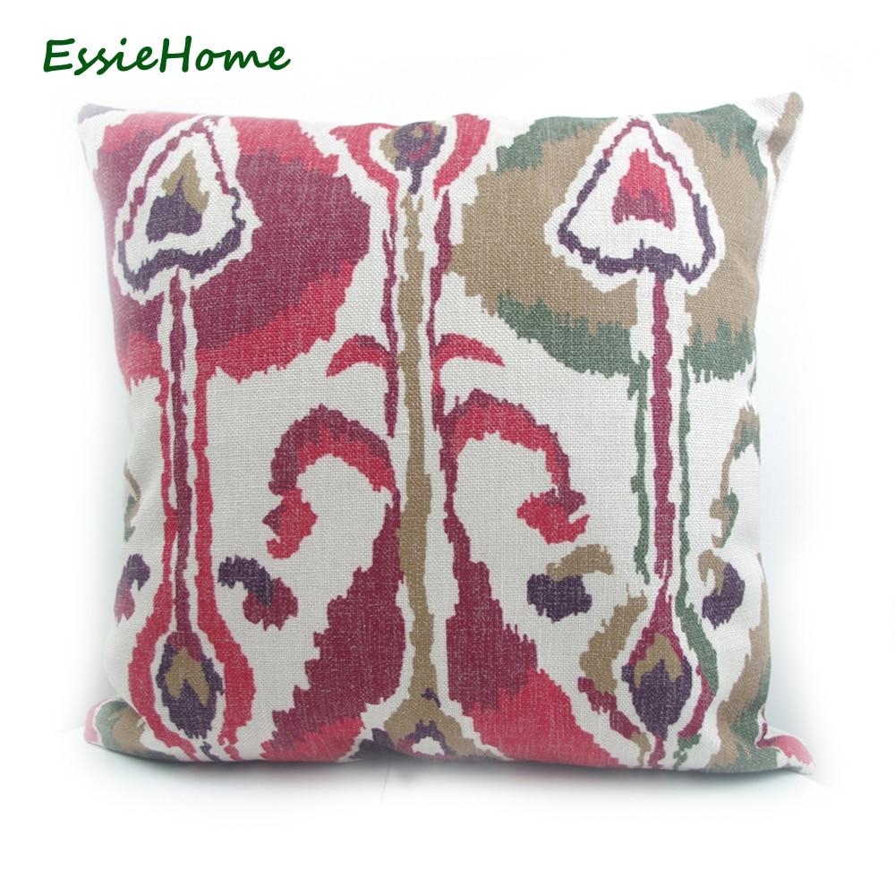 ESSIE HOME High-End Χέρι εκτύπωσης χέρι Σκούρο κόκκινο πράσινο καφέ Ikat μοτίβο μαξιλαροθήκη Μαξιλάρι κάλυψη καναπέ Vintage Look Αρχική Decorati