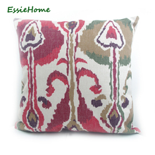 ESSIE HOME High-End Hand Print Light Dark Red Green Brown Ikat Pattern Pillow Case Cushion Cover Sofa Vintage Look Home Decorati