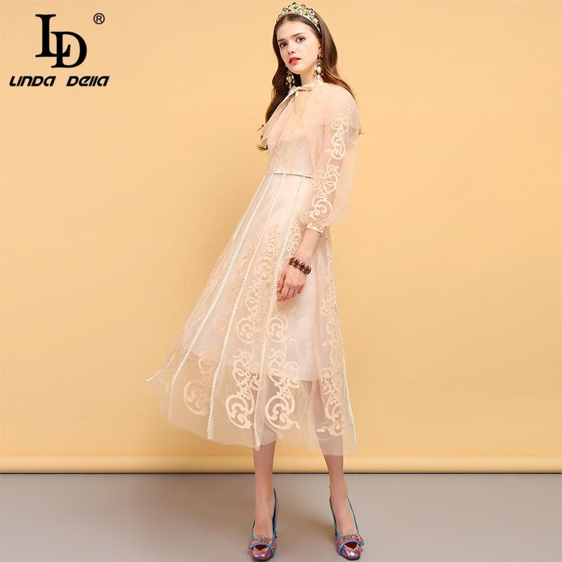 LD LINDA DELLA Fashion Runway Designer Autumn Dress Women's Bow Tie Floral Embroidery Mesh Overlay Elegant Vintage Party Dresses