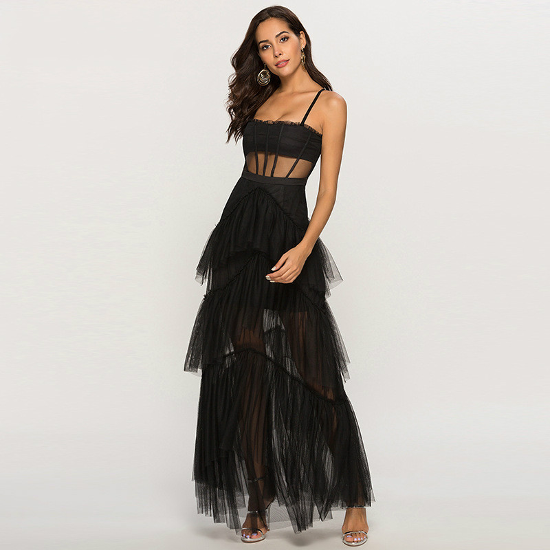 New 2019 Summer Women Dress Luxury Mesh Cascading Ruffles Maxi Long Ladies Designer Strap Sexy Perspective