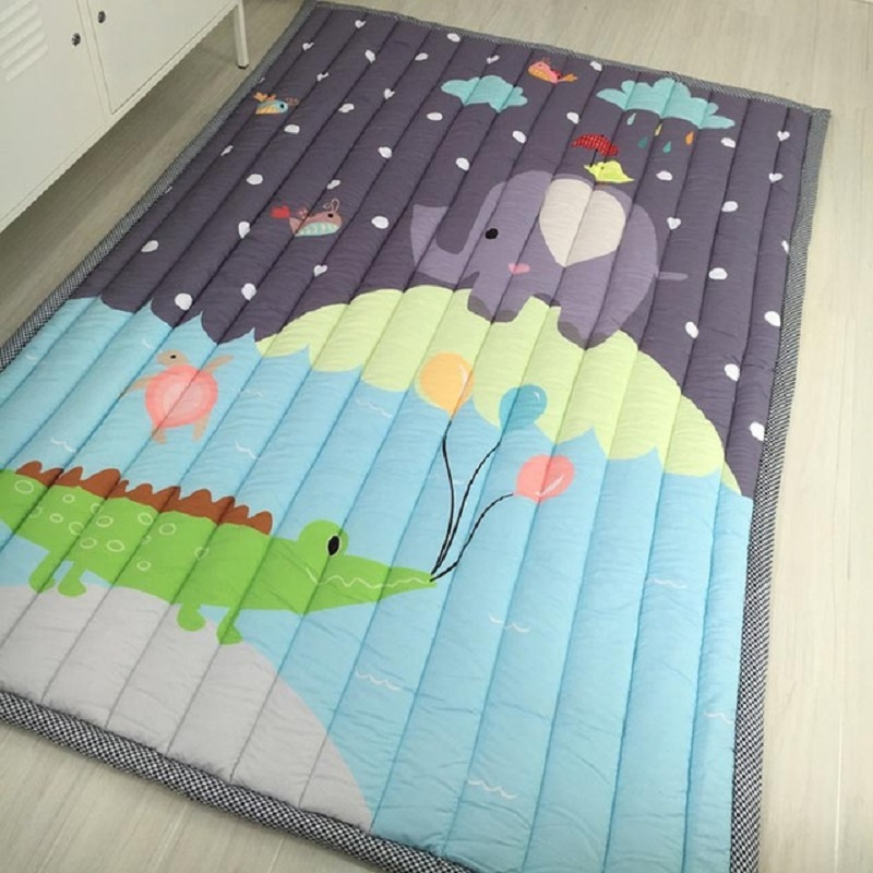 Motif Simple bébé jouer tapis enfants ramper tapis coton 2.5 CM épais doux tapis sans odeur sûr couverture tapis Style nordique - 5