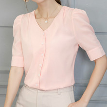 Korean Women Chiffon Blouse Office Lady V Neck Short Sleeve Slim Shirts Cute Button Summer Blouses 2019 Casual White Top Blusas все цены