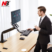 NB FC35 Ergonomic Desktop Gas Spring 22 35 inch Monitor Holder With Foldable Keyboard Tray Full Motion Sit Stand Workstation